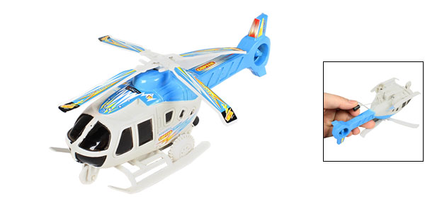 Children Blue White Plastic Pull String Airplane Model Helicopter Toy