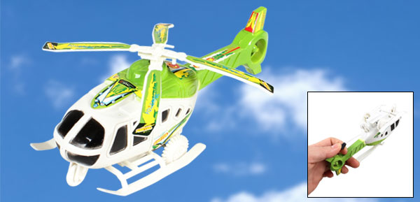Children Green White Plastic Pull String Airplane Model Helicopter Toy