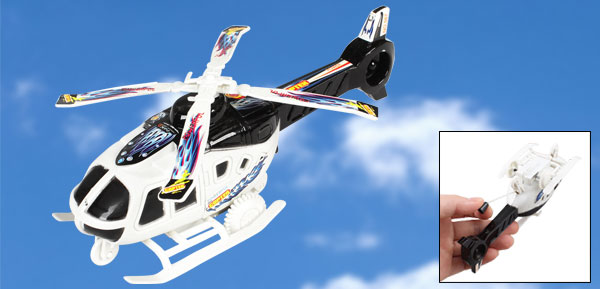 Children Black White Plastic Pull String Airplane Model Helicopter Toy