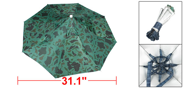 Fishing Unadjustable Headband Camouflage Printed Canopy Rain Umbrella Hat Cap