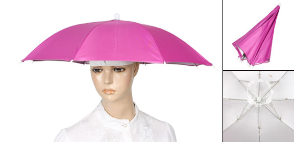 Camping Hands Free Elastic Headband Folding Fishing Umbrella Hat Cap Fuchsia