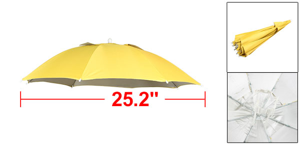 Camping Hands Free White Elastic Headband Folding Umbrella Hat Cap Yellow