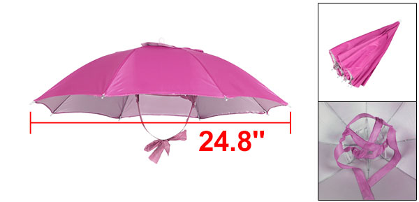 Beach Golf Fishing Hands Free Headwear Polyester Umbrella Hat Cap Fuchsia