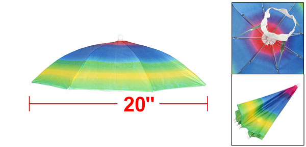 Fishing Camping Portable Rainbow Pattern Polyester Umbrella Hat Cap 20