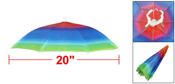 Beach Golf Fishing Hands Free Headwear Polyester Rainbow Umbrella Hat 20