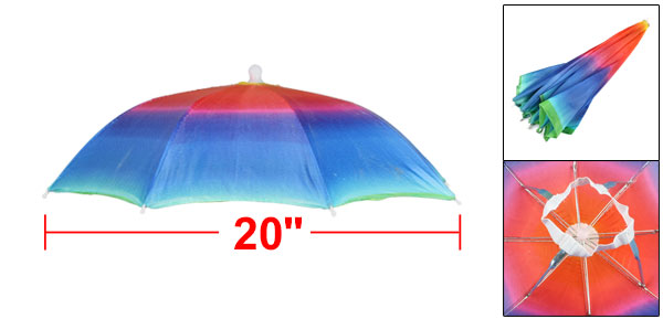 Beach Fishing Hands Free Headwear Polyester Rainbow Printed Umbrella Hat Cap