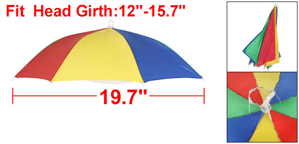 Outdoor Fishing Foldable Umbrella Hat Headwear Cap Red Green Blue Yellow