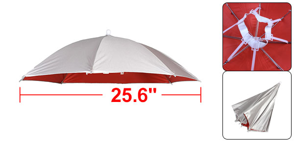 Outdoor Foldable Fishing Headwear Silver Tone Red Polyester Umbrella Hat