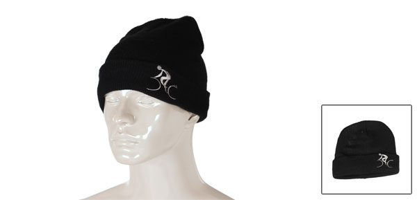 Lady Man Black Double Layer Beanie Skiiing Warm Knitting Hat