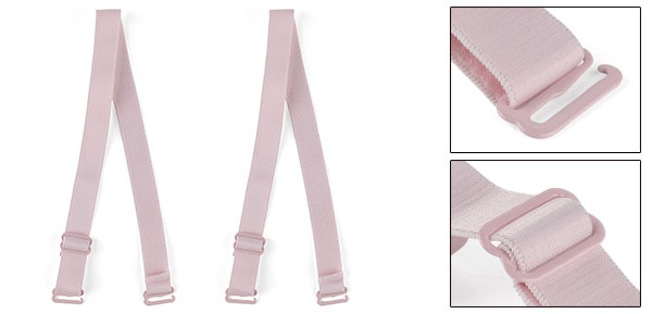 Pink Elastic Fabric Metal Hook End Bra Straps Pair for Ladies