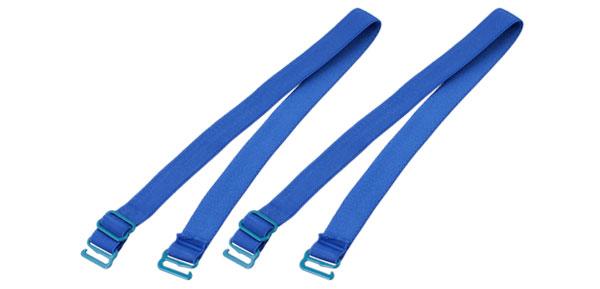 Blue Elastic Fabric Metal Hook End Bra Straps Pair for Ladies