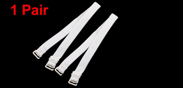 White Elastic Fabric Metal Hook End Bra Straps Pair for Ladies
