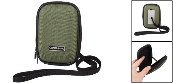 Dark Green Zippered Digital Camera Bag Case w Black Nylon Neck Strap