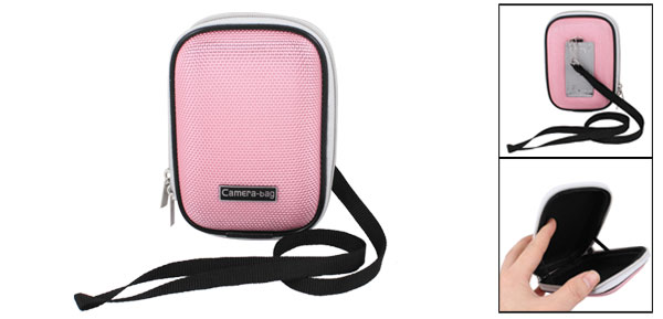 Pink Nylon Coated Hard Plastic Double Zipper Digital Camera Bag