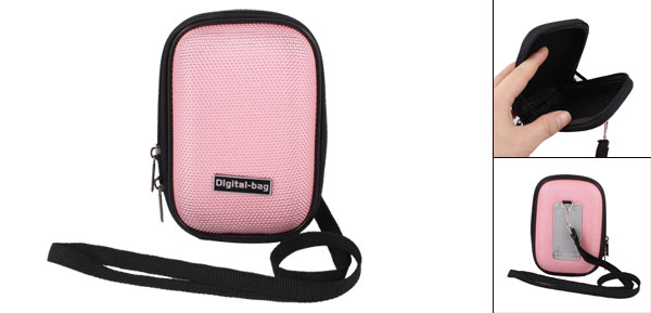 Pink Nylon Coated Hard Plastic 2 Way Zipper Digital Camera Bag