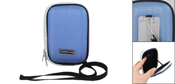 Sky Blue Nylon Coated Hard Plastic Dual Zipper Digital Camera Bag