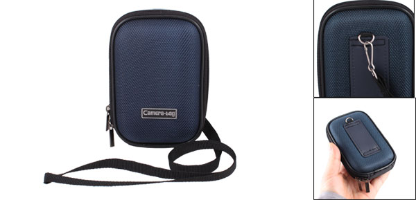 Dark Blue Nylon Coated Hard Plastic Double Zipper Digital Camera Bag