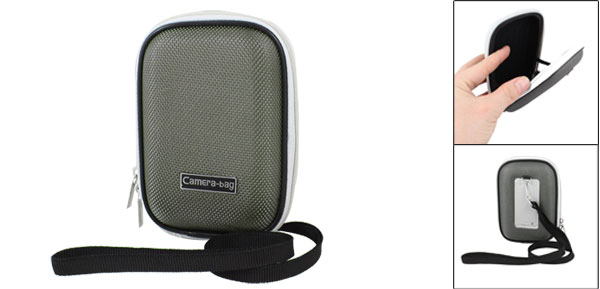 Gray Two Way Zipper Closure Nylon Cover Hard Plastic Digital Camera Bag