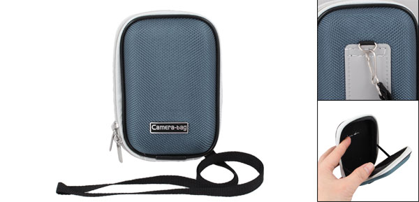 Light Blue Nylon Coated Hard Plastic Double Zipper Digital Camera Bag