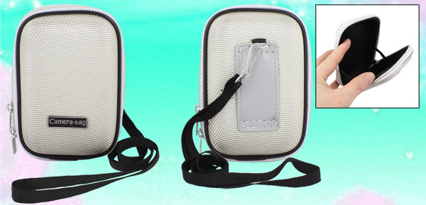 Beige Nylon Coated Hard Plastic Double Zipper Digital Camera Bag