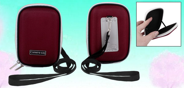 Red Nylon Coated Hard Plastic Double Zipper Digital Camera Bag