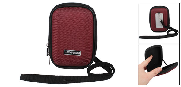 Red Nylon Coated Hard Plastic 2 Way Zipper Digital Camera Bag
