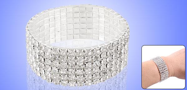 Ladies Plastic Glittery Rhinestone Inlaid 6 Rows Elastic Bracelet Ornament