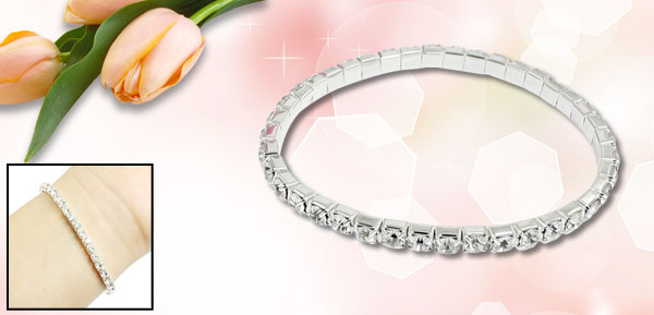 Girl Glistening Plastic Rhinestone Elastic Wrist Bracelet Jewelry 3mm Width