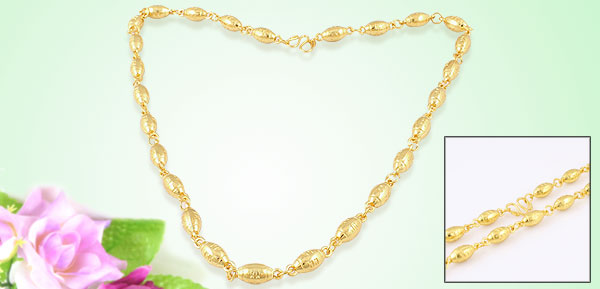Neck Ornament Oval Shape Beads Gold Tone Metal Necklace for Ladies