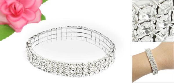 Metal Chain 3 Row Sparkling Rhinestone Elastic Bracelet Bangle Silver Tone