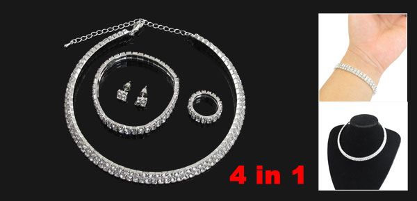 4 in 1 Set Rhinestone Ornament Necklace Finger Ring Chain Bracelet Stud Earrings