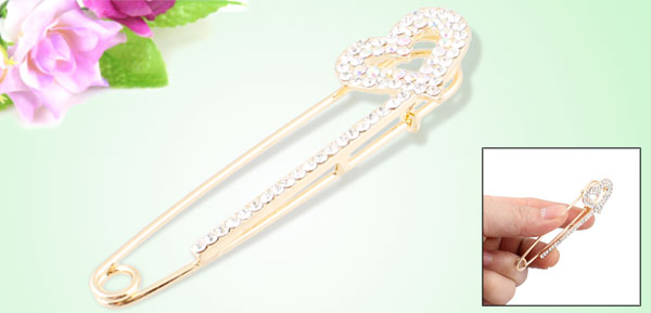 Ladies Shiny Clear Rhinestone Inlaid Heart Detail Safety Pin Brooch