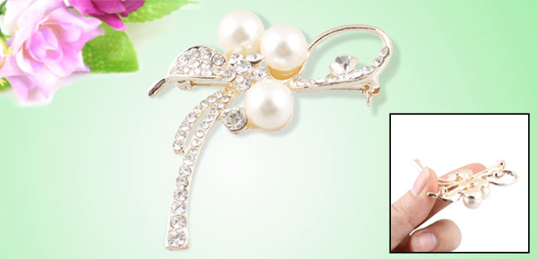 Ladies Shiny Clear Rhinestone Inlaid Bowknot Detail Safety Pin Brooch