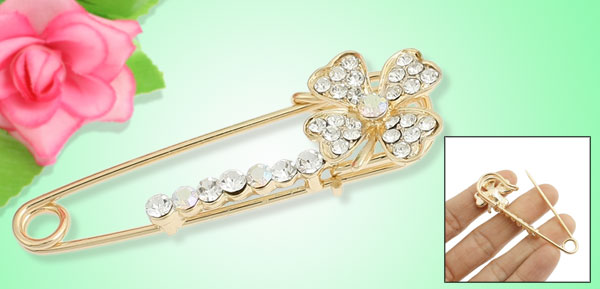 Women Glistening Flower Rhinestone Brooch Breast Pin Gold Tone 2.3