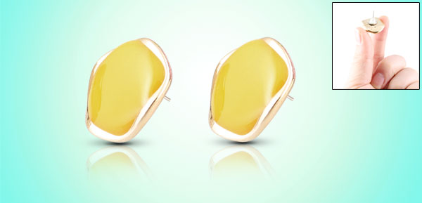 Ladies Yellow Plastic Decor Pierced Ear Stud Earrings Earbobs Pair