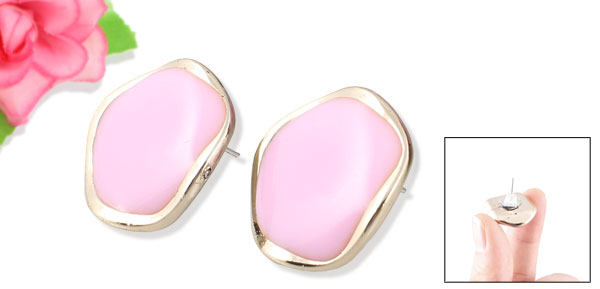 Ladies Light Pink Plastic Decor Pierced Ear Stud Earrings Earbobs Pair