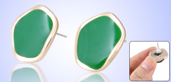 Ladies Green Plastic Decor Pierced Ear Stud Earrings Earbobs Pair