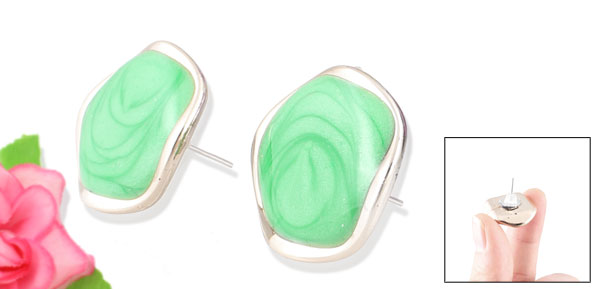 Ladies Green Plastic Flat Bead Decor Pierced Ear Stud Earrings Eardrops Pair