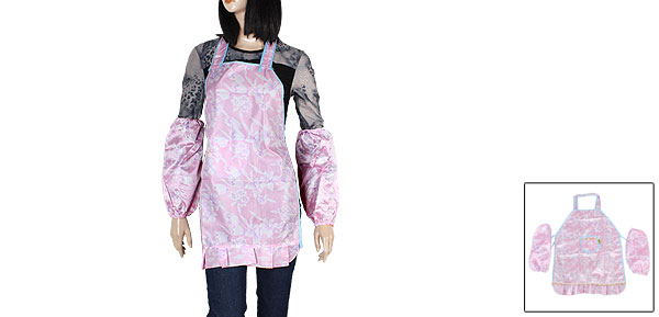 Flower Pattern Pink Polyester Pocket Bib Apron + 2Pcs Oversleeves for Woman
