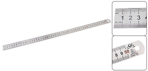Double Side Stainless Steel 50CM Straight Ruler Measuring Tool