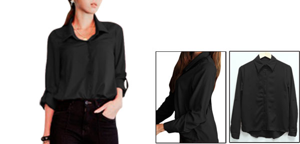 Ladies Black Point Collar Casual Autumn Button Closure Shirt Xs