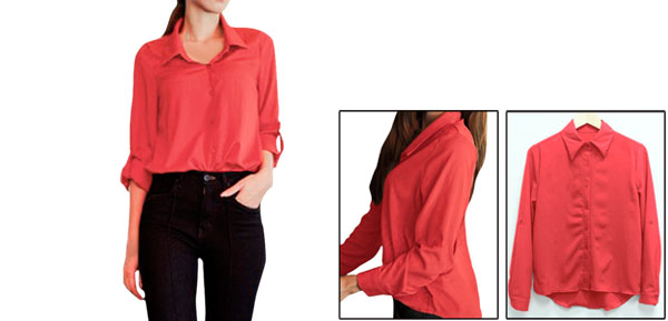 Ladies Red Convertible Sleeves High Low Hem Casual Spring Shirt Xs