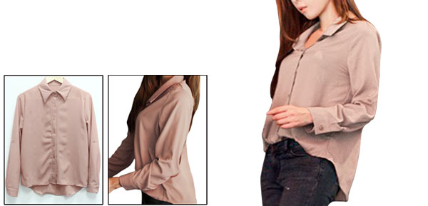 Ladies Rosy Brown Convertible Sleeves Casual Point Collar Autumn Shirt Xs