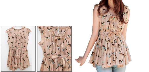 Ladies Apricot Sleeveless Scoop Neckline Deer Pattern Casual Shirt Xs