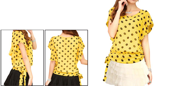 Ladies Yellow Scoop Neck Dots Pattern Casual Pullover Chiffon Shirt Xs