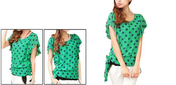 Ladies Grass Green Dots Pattern Pullover Lined Summer Chiffon Shirt Xs