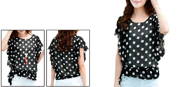 Ladies Black Ruffled Sleeves Casual Elastic Waist Chiffon Shirt Xs
