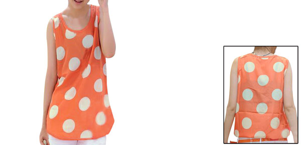 Ladies Orange Scoop Neck Dots Pattern Pullover Casual Tank Top Xs