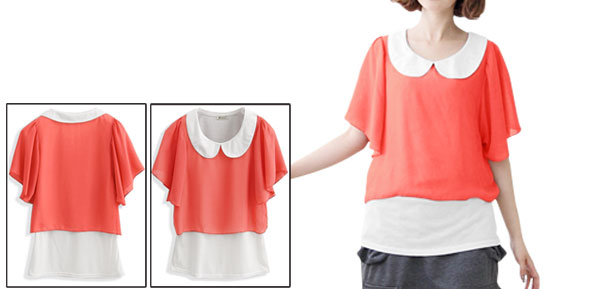 Ladies Orange White Ruffled Sleeves Casual Pullover Summer Shirt Xs