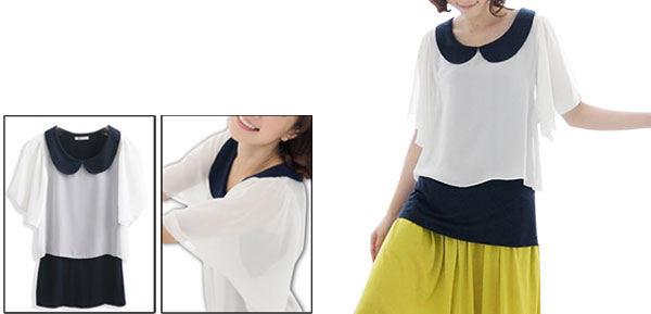 Ladies White Dark Blue Doll Collar Casual Chiffon Detail Pullover Shirt Xs